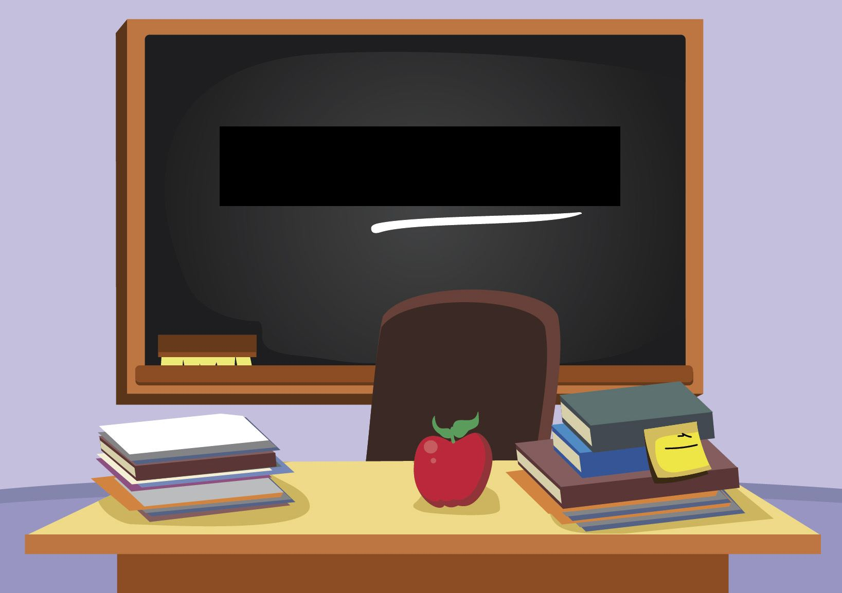 Blackboard in classroom with text